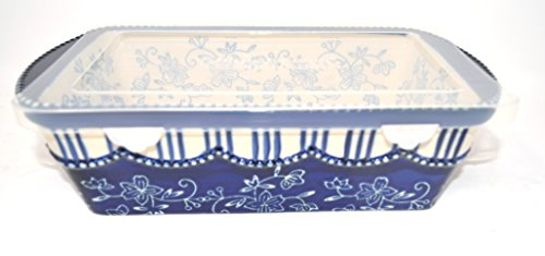 Temp-tations Loaf Pan & Plastic Cover for Meat Loafs or Breads 1.75 Quart (Floral Lace Blue)