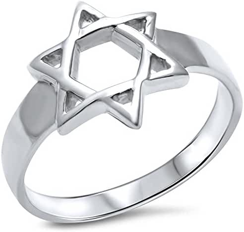 Solid Star of David .925 Sterling Silver Ring Sizes 5-10