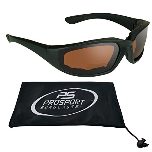 ANSI Z87 Motorcycle HD Vision Bifocal Sunglasses Eva Cushion Padded 1.50 with Safety Blue Blocker Lenses for Smaller Head Sizes. Free Microfiber Cleaning Case