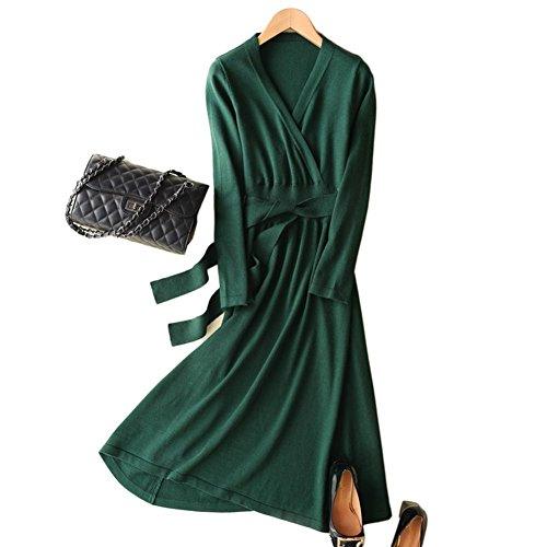 VenuStar Casual Dresses Womens Stretch Knit Cross V Neck Cashmere Wrap Dresses With Belt (L, 05-V Neck-Green)