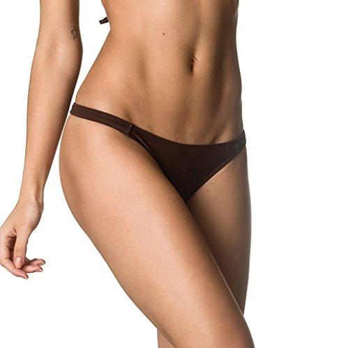 - THE MESH KING Coqueta Sexy Teeny Mini Brazilian Bikini Thong Swimsuit Bottom Swimwear Brown-SM
