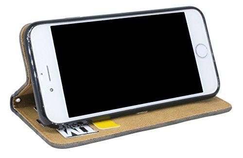 Elegante Buch-Tasche für das Iphone 7 in Anthrazit Leder Optik Wallet Book-Style Bumper Flip-Case@ Energmix