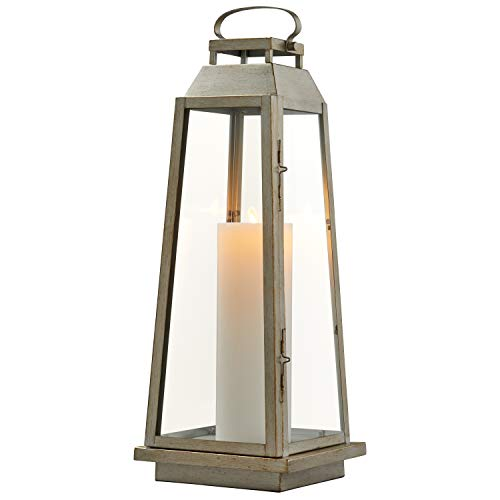 Stone & Beam Modern Traditional Decorative Metal and Glass Lantern with Candle, 25''H, Champagne Silver, For Indoor Outdoor Use by Stone & Beam (Image #3)
