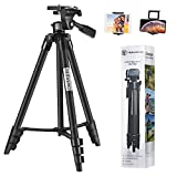 Tripod for iPad iPhone Camera,TESVERO 55-Inch Aluminium Alloy Camera Tripod,Maximum Load Capacity 6.6 LB + Universal 2 in 1 Mount Holder,Compatible with Tablet/Cell Phone/Camera
