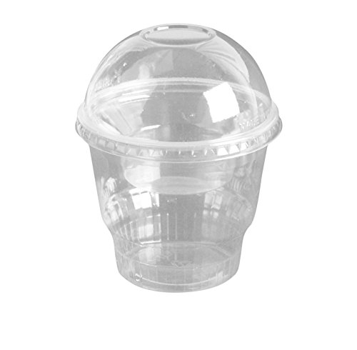 12oz Clear Plastic Dessert Cups with 4oz Parfait Insert & Lids, 3-piece (100 Count, Dome Lid - No Hole)