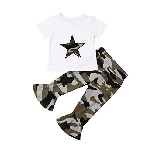 Toddler Baby Girl Camouflage Clothes Top T-Shirt+Camo Flare Legging Pants Outfit Set (Green, 4-5T)