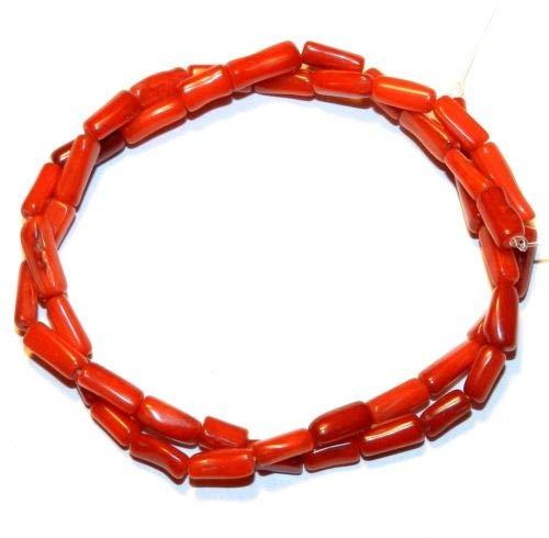 CRL260 Red Medium 5mm - 12mm Irregular Round Tube Bamboo Coral Gemstone Bead 15'' Crafting Key Chain Bracelet Necklace Jewelry Accessories Pendants