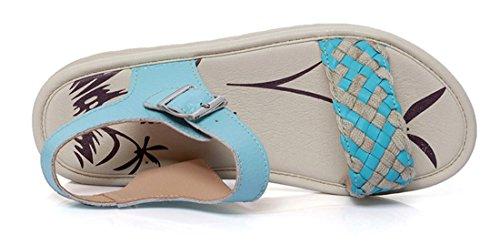 Femmes Plat de Bleu Weave Auspicious Sandales Cuir beginning Chaussures Anti Dérapant Enceintes FxF6Iz