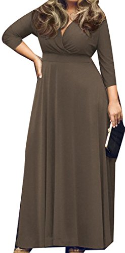 Cruiize Empire Waist Womens Solid Dress Coffee Maxi V Party neck Sleeve 3 4 pqprayHUF