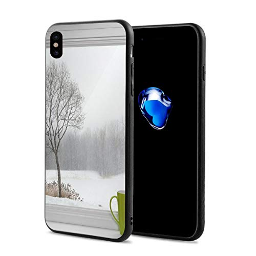 - Phone Case Cover Compatible with iPhone X XS,Green Teacup On A Windowsill Forest Outdoors February Snowstorm Scenic Countryside,Compatible with iPhone X/XS 5.8