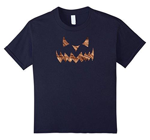 Scary Demon Face (Kids Scary Halloween Evil Demon Pumpkin Face T-shirt (Firestone) 12 Navy)