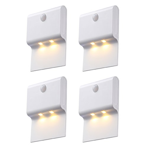 AMIR Motion Sensor Night Light, 2-LED Wireless Hanging Wall Night Lamp, Stick Anywhere, Auto On/Off PIR Detection for Hallway, Staircase, Corridor, Wall, Kitchen, Battery Powered ( White – Pack of 4) (Hanging Wall Lamps)