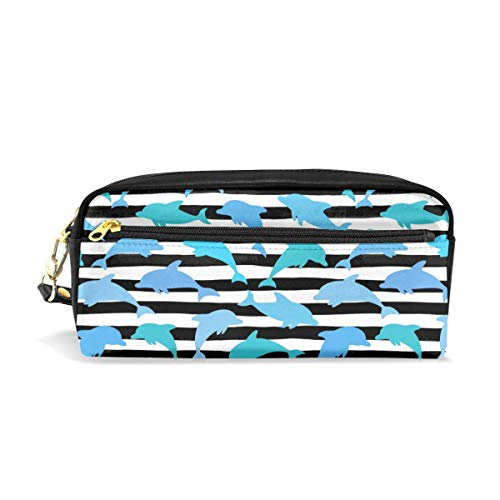 Blue Cute Dolphin Stripes Ocean Beach Pencil Pack Organizer Pen Holder Case Cosmetics Glasses Canvas Bag Makeup Pouch Office Box Girls Kid Boy School Gift 2 Pockets ()