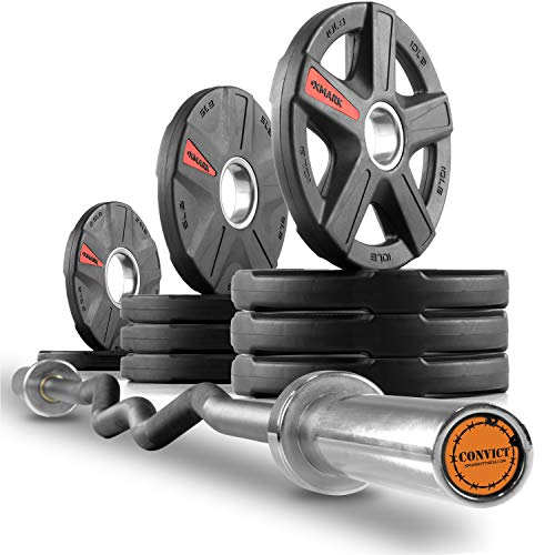 The Warden s Package, XMark Convict 6 Rackable Olympic EZ Curl Bar, Olympic Bar Only or Bar Plus Texas Star, Signature or TRI-Grip Olympic Plate Weight Sets, Use with Squat Rack or Weight Bench