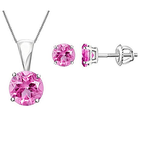 (Diamond Scotch Simulated Pink Sapphire Single Stone Solitaire Round Pendant Necklace and Earrings Jewelry Sets in 14k White Gold Plated, 18 inches )
