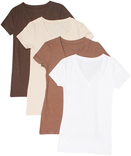 4 Pack Zenana Women's Basic V-Neck T-Shirts Med Brown, Mocha, Taupe, White
