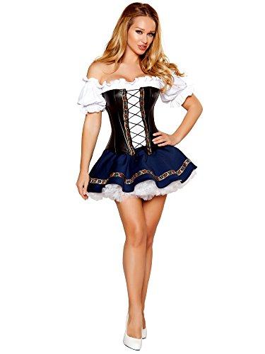 Roma Costume 3 Piece Beer Maiden Baby Costume, White/Blue/Black, Medium -