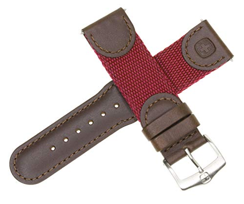 New 20mm Wenger Swiss Army Genuine Brown Leather Strap Burgundy Nylon Watch Band ()