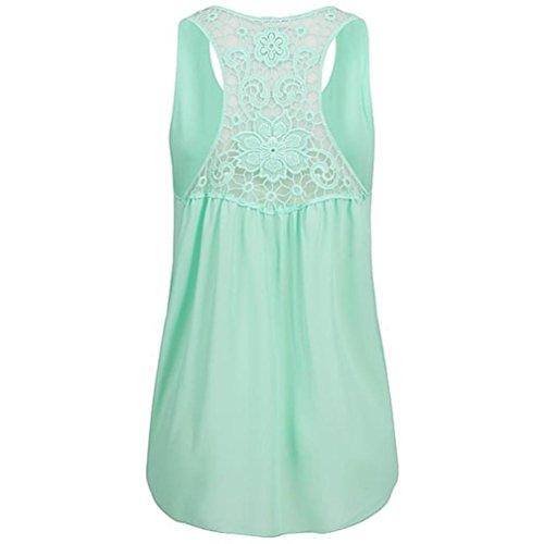 manches T Top sans shirt d'été Tefamore mousseline Gilet en Blouse Tunique ❤️ Femme Verte Menthe 0PCnq
