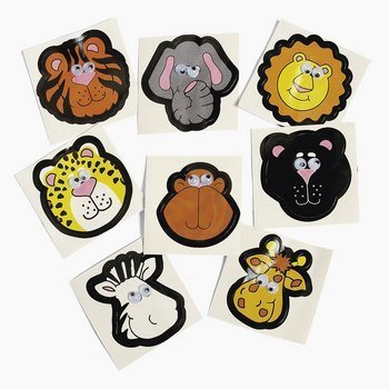 Zoo Animal Stickers with Wiggle Eyes -72 pc