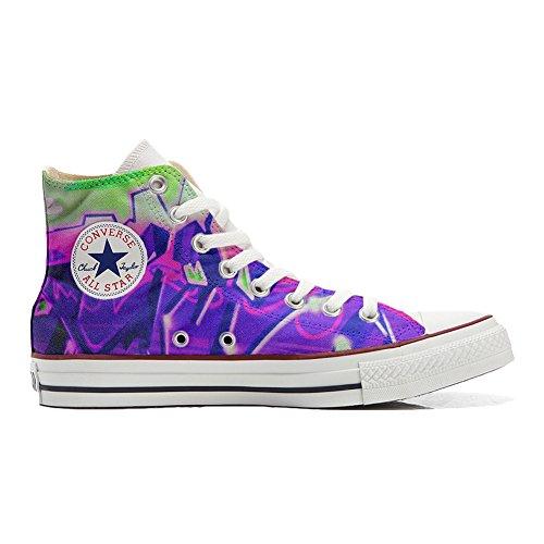 Graffiti avec produit sfumati chaussures Customized Adulte artisanal viola coutume Converse wB76Rqf