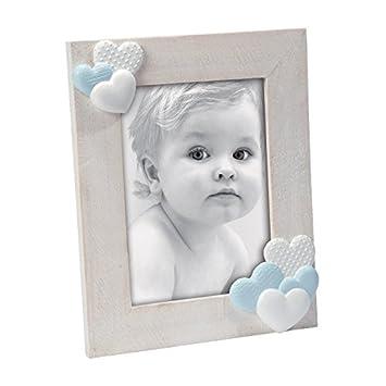 Amazonde Bilderrahmen Aus Holz Gekalkt Beige Mit Herzen Weiß Und Blau