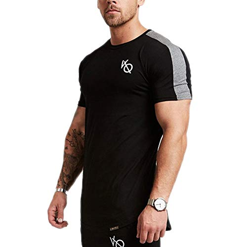 SHEJIAN New Men Short Sleeved Tshirt Cotton Sleeve Gyms Fitness Workout Clothing 1 XXL