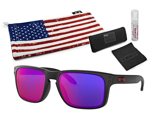 (Oakley Holbrook Sunglasses (Matte Black Frame, Positive Red Iridium Lens) with Lens Cleaning Kit and Country Flag Microbag)