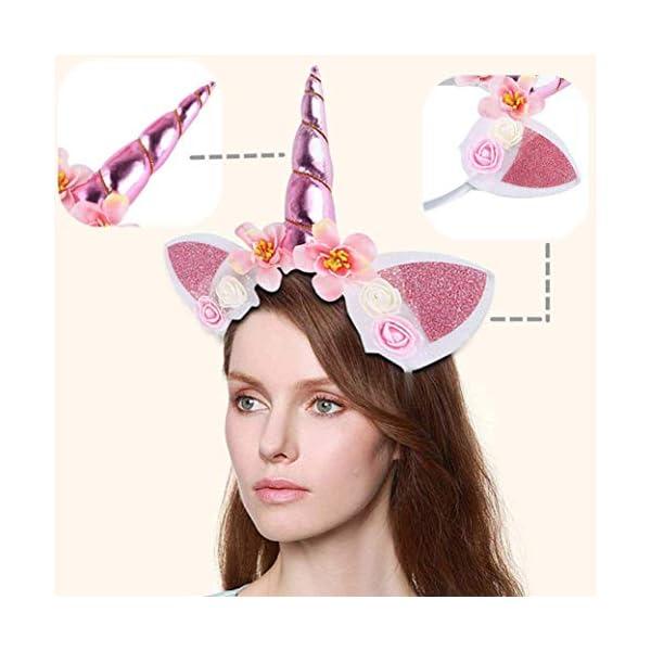 5PC Glitter Unicorn Horn Headband, Flower Ears Unicorn Headbands for Girls, Birthday Party Supplies, Favors and… 9