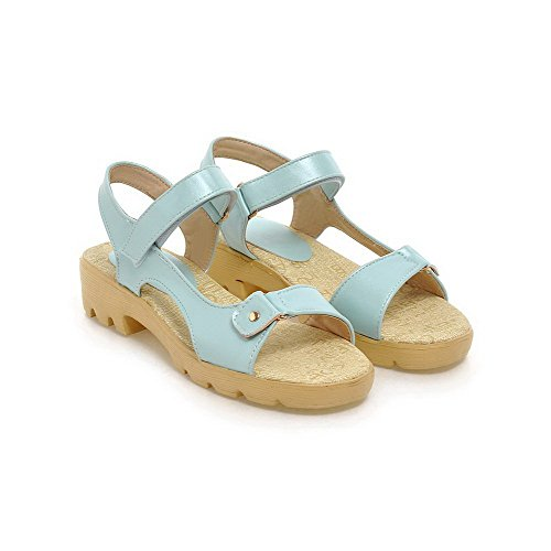 AllhqFashion Women's Open Toe Low-heels Soft Material Solid Hook-and-loop Sandals Blue 92BeI