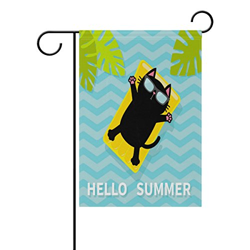 ALAZA Hello Summer Funny Cat Floating On Pool Water Polyester Garden Yard Flag 12
