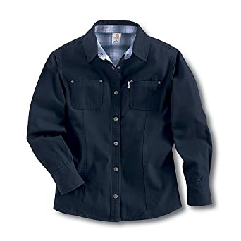 Carhartt Canvas Flannel Lined Shirt, Black, X-Large at Amazon ...