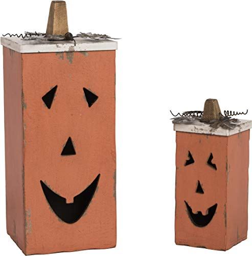 Pumpkin Rustic Orange 15 x 6 MDF Wood Halloween Canister Containers Set of 2 by Transpac Imports, Inc. (Image #1)