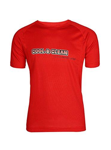 ZITY Men's 100% Polyester Summer Sportswear Moisture-Wicking Short-Sleeve T-Shirt Red Small