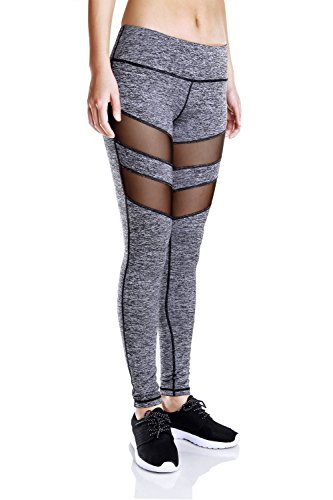 Besporter mujeres Fitness pantalones deportivos Leggings Stretch Athletic pantalones de yoga gris
