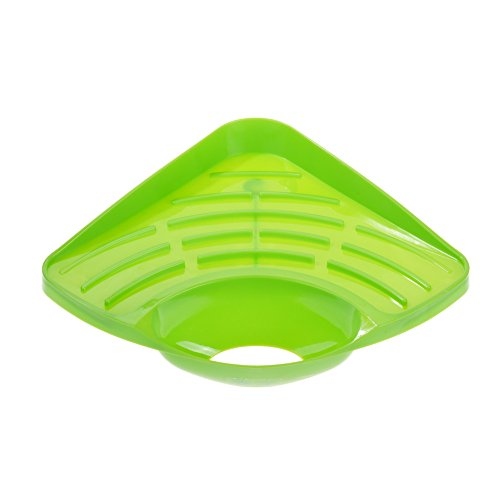 (Beautyflier Kitchen Triangle Sink Corner Storage Rack Suction Cup Holder Organizer for Dish Cloth Sponge Soap Cleaning Brush (Green))