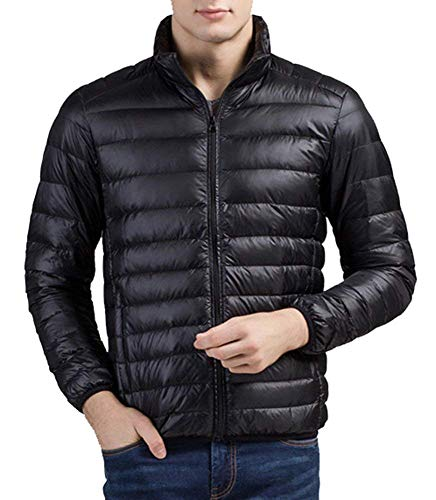 BOLAWOO Down Coat Men Down Jacket Down Ultralight Warm Coat Long Winter Solid Fashion Brands Color Long Sleeve Coat Jacket Schwarz