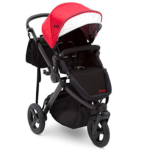 Jogging Stroller | All Terrain Baby Jogger | Sport Utility | JPMA Safety Certified | J is for Jeep Brand | Red on Black Frame