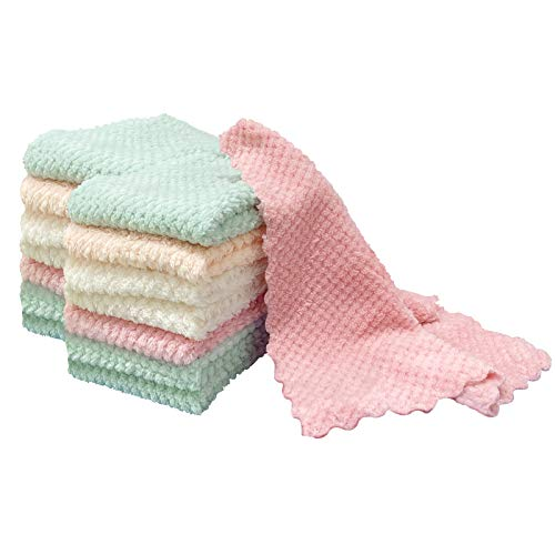 "GonHui Dish Cloths for Washing Set of 15 Microfiber Kitchen Towels Super Absorbent Coral Velvet Dishcloths Fast Drying Cleaning Washcloths 9.8""9.8"""