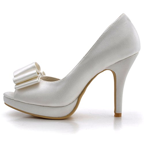ElegantPark EP2049-PF Women's Peep Toe Stiletto Heels Satin Bowknot Platform Wedding Bridal Court Shoes Ivory qvKiit3n