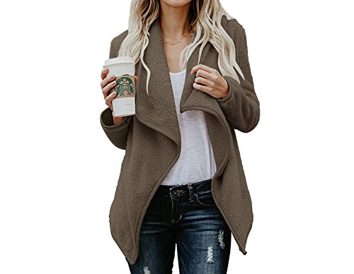 Luluka Women's Open Front Long Thick Knit Cardigan Sweaters Fluffy Jacket Outerwear US Small Coffee