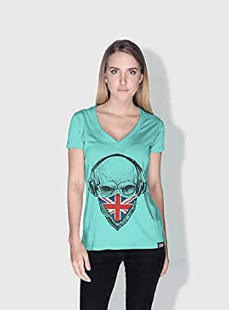 Creo Uk Skull T-Shirts For Women - L, Green