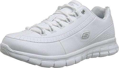 Skechers Synergy - Elite Caliber Walking Sneaker Comfort Shoe - White/Silver - Womens - 7.5