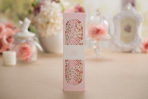 100sets Laser cutting Pink Box packed Wedding Invitation cards Pink Scroll Birthday Invitations Card with Butterfly knot Style customized Inner sheet XQ1605-P by wishforyou