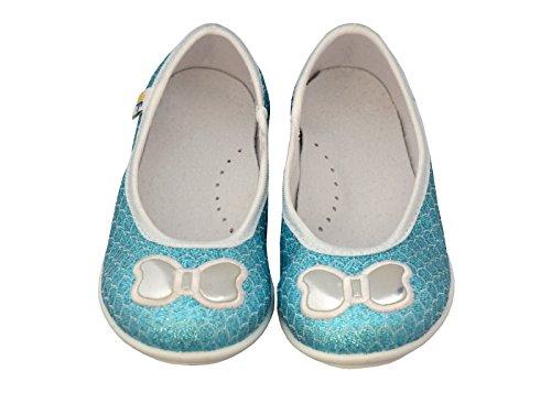 3f freedom for feet Klassische Mädchen Geschlossene Kinder Glitzer Ballerinas mit Echtes Leder Einlegesohlen! Größe 27-32 Blau Ballerinas
