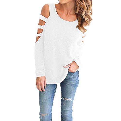 Blanc Blouse shirt Femme Troues Chemise Casual Shirt T Fille Manche avec Haut Classique Top Chemisier Epaule Landove Manches Dnude Chic Longue FdnwqRY