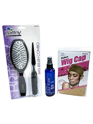 Brittny Professionals Wig Brush Combo with Bonfi Natural Oil-Free Wig Shine Spray 4 oz and 2-Piece Neutral Nude Beige Wig Caps (4 Piece Set) - Glam Cap