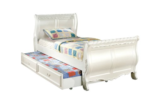 Furniture of America Nathalia Fairy Tale Style Twin Sleigh Bed with Twin Trundle, Pearl White Finish (Sleigh Pearl)