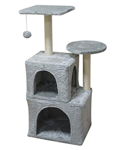 MIAO PAW Cat Tree CatTower Cat Condo Cat Furniture Activity Center Kitten Play House Cat Bed Sisal Scratching Posts and Double Platforms Grey