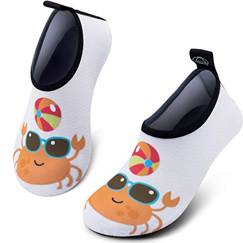 SIMARI Toddler Water Shoes Boy Girl Baby Barefoot Aqua Socks Shoes for Beach Pool Surfing 305 Crab 3~4 (Best Beach Shoes For Kids)